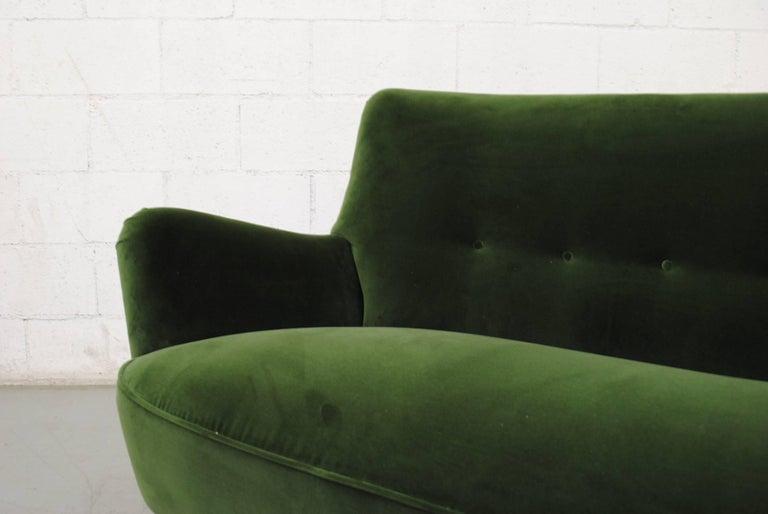 Gorgeous Theo Ruth Emerald Green Velvet Sofa For Sale 3
