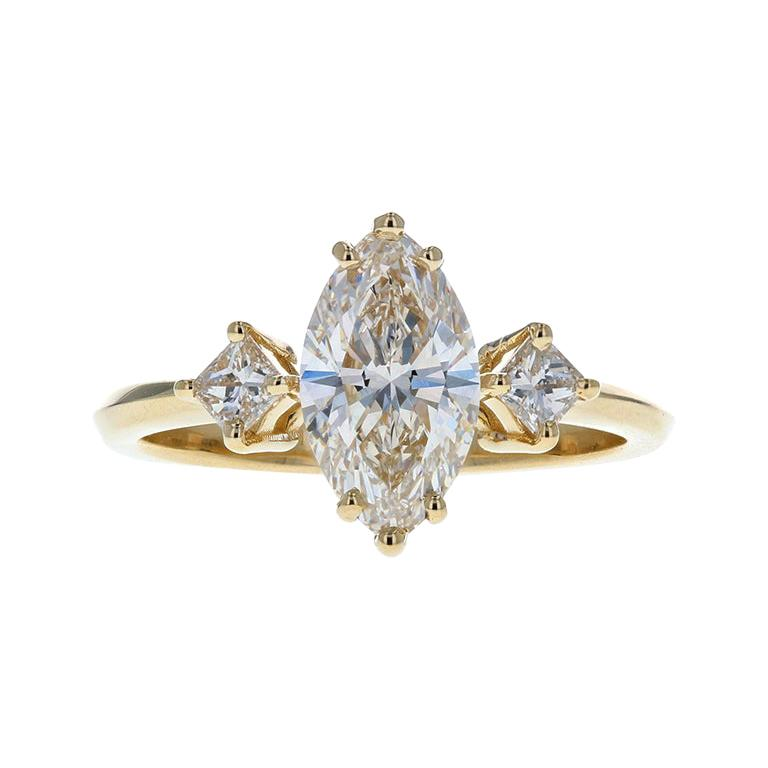 Gorgeous Three-Stone Diamond Engagement Ring with Marquise Diamond Center For Sale