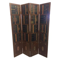 Gorgeous Tooled Leather and Wood Tromp l'oeil Book Motife Screen Room Divider