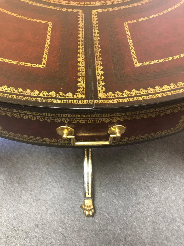 Gorgeous Tooled Leather Wrapped Mahogany Center Table by Maitland Smith For Sale 5