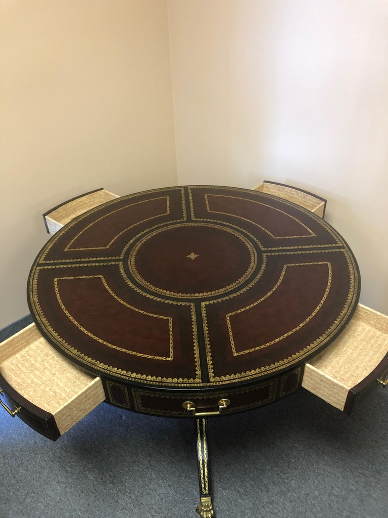 Gorgeous Tooled Leather Wrapped Mahogany Center Table by Maitland Smith For Sale 6