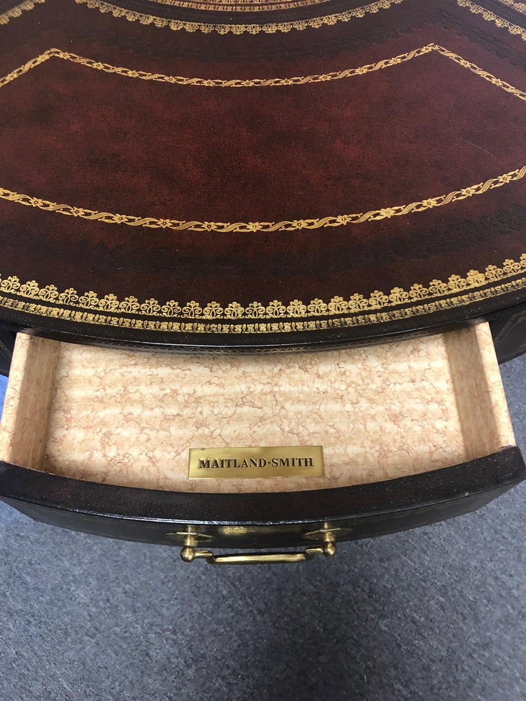 Late 20th Century Gorgeous Tooled Leather Wrapped Mahogany Center Table by Maitland Smith For Sale