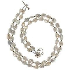 Gemjunky Gorgeous Two-Strand Silvery Iridescent Keshi Pearl Necklace