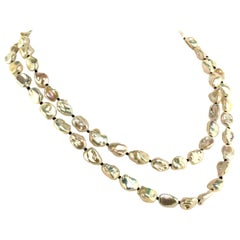 Gorgeous Two-Strand Silvery Iridescent Keshi Pearl Necklace June Birthstone
