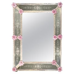 Gorgeous Venetian Mirror with Etched and Hand Blown Pink Glass