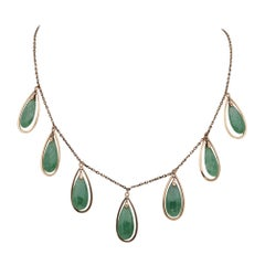 Gorgeous Victorian Natural Apple Jade Drops Necklace