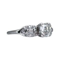 Gorgeous Vintage 14 Karat White Gold Diamond Engagement Ring, 1.43 Carat
