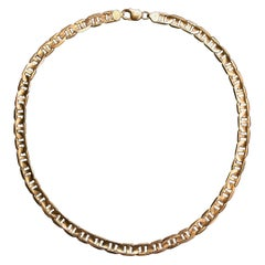 Gorgeous Vintage 14 Karat Yellow Gold Modified Curbed Link Chain