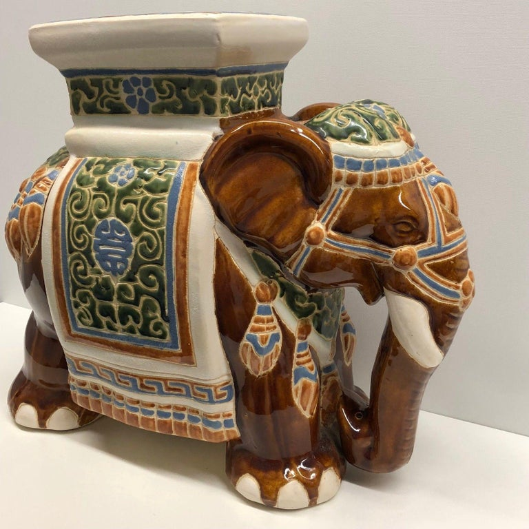 Ceramic Gorgeous Vintage Hollywood Regency Chinese Elephant Garden Plant Stand For Sale