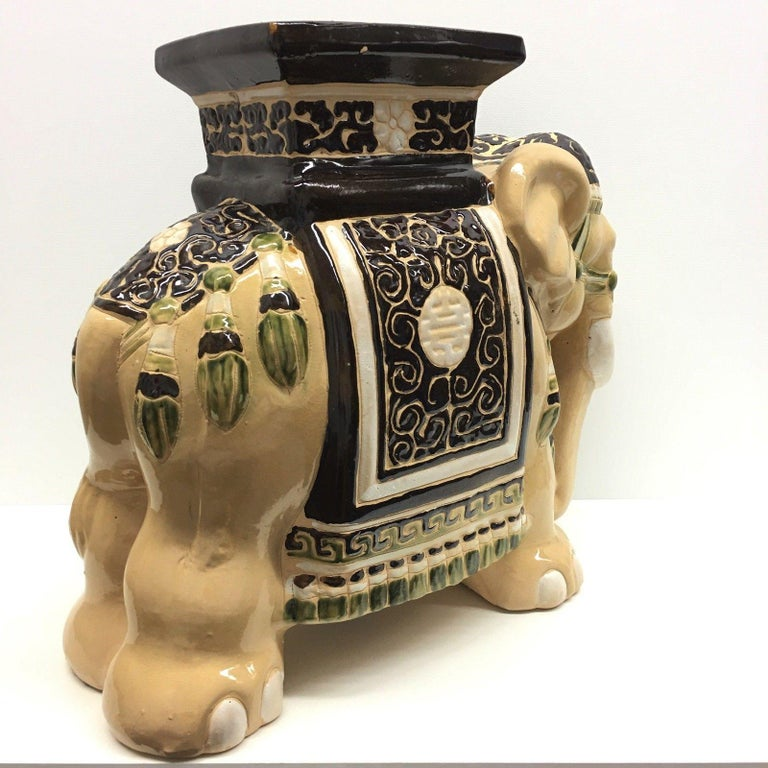 German Gorgeous Vintage Hollywood Regency Chinese Elephant Garden Seat For Sale