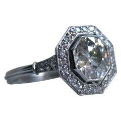 Gorgeous Vintage Platinum Halo Diamond Engagement Ring, 2.70 Carat
