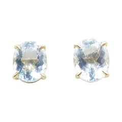 Gorgeous Yellow Gold Large Stone Aquamarine Stud Earrings