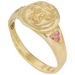 Gorgoneion Pinky Ring, 18 Karat Yellow Gold with Pink Sapphire
