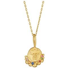 Gorgoneion Radiance Necklace, 18 Karat Yellow Gold with Sapphire, Ruby, Diamond