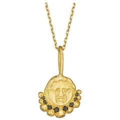 Gorgoneion Radiance Pendant with Black Diamonds, 18 Karat Yellow Gold