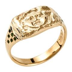 Gorgoneion Signet Ring, 14 Karat Yellow Gold