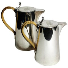 Gorham 1913 Art Deco Pair of Silver Plated Breakfast Jugs with Raffia Handles