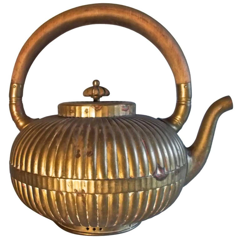 Gorham American Renaissance Japanesque Brass Tea Kettle