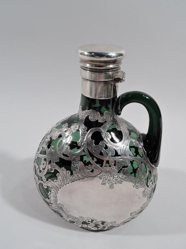American Gorham Art Nouveau Green Silver Overlay Jug Decanter For Sale