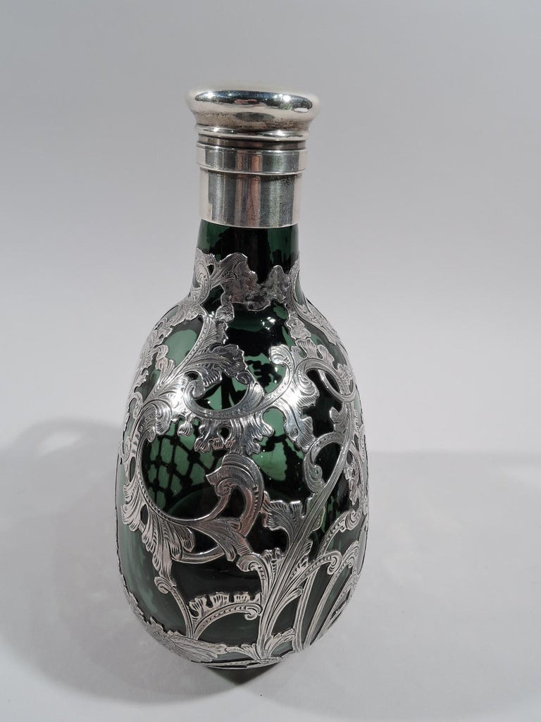 Gorham Art Nouveau Green Silver Overlay Jug Decanter In Excellent Condition For Sale In New York, NY