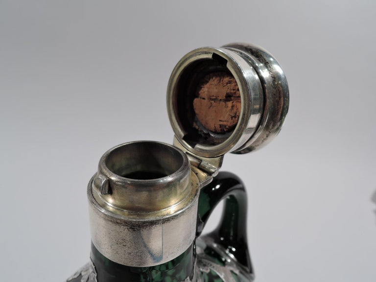 19th Century Gorham Art Nouveau Green Silver Overlay Jug Decanter For Sale