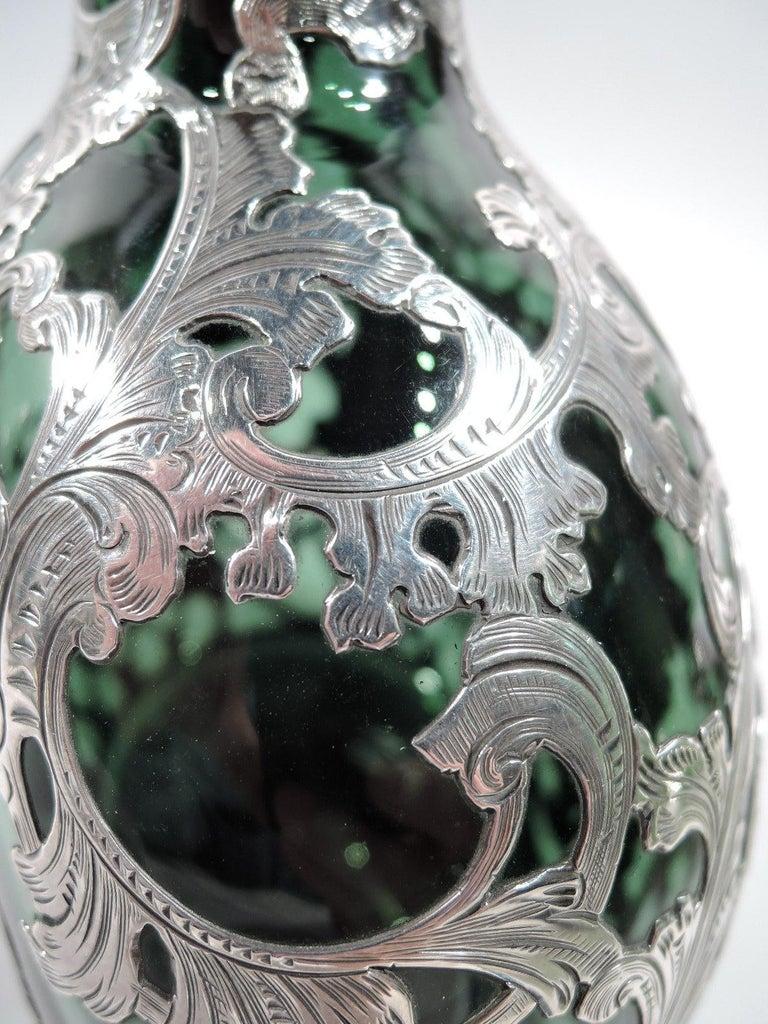 Gorham Art Nouveau Green Silver Overlay Jug Decanter For Sale 1