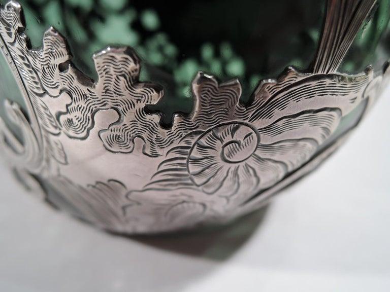 Gorham Art Nouveau Green Silver Overlay Jug Decanter For Sale 2