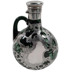 Gorham Art Nouveau Green Silver Overlay Jug Decanter