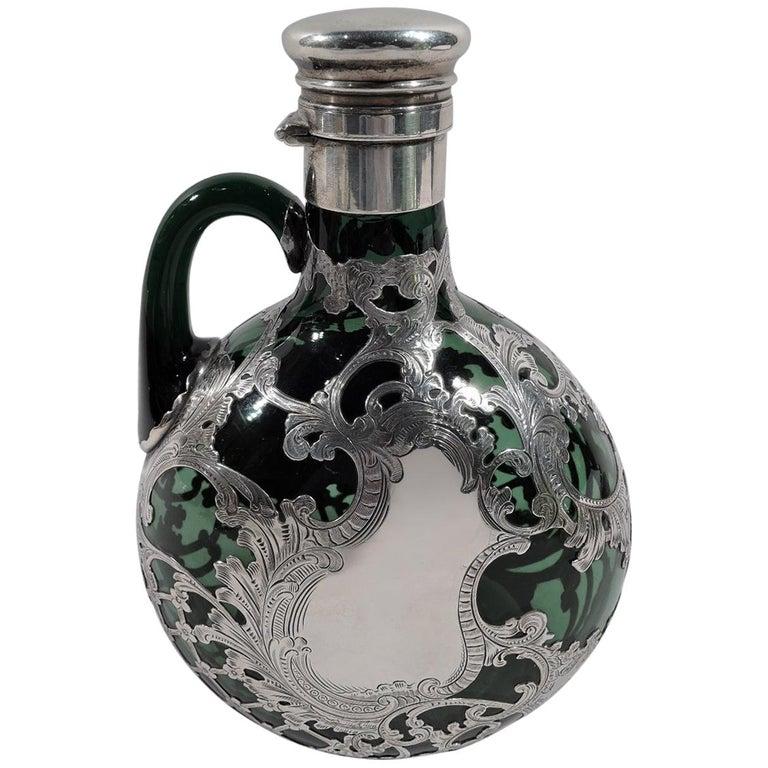 Gorham Art Nouveau Green Silver Overlay Jug Decanter For Sale