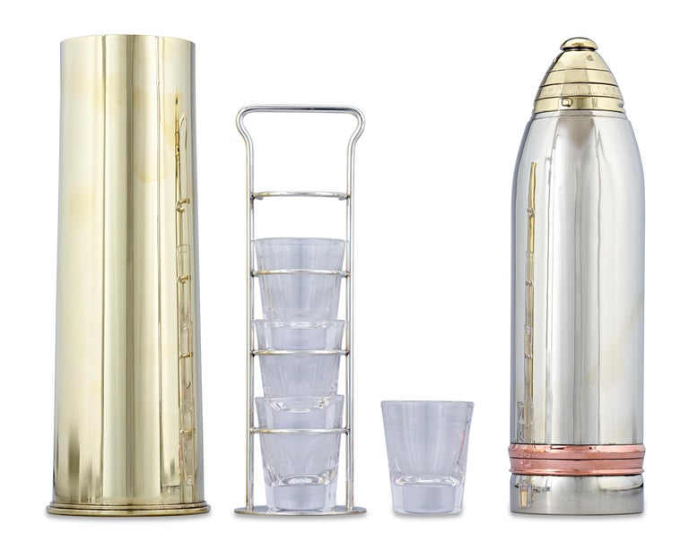This incredibly rare artillery shell cocktail shaker, crafted by the Gorham Silver Company, is one of the very few remaining of its kind with all of its original parts. Sleek and aerodynamic, the shaker is one of the tallest ever produced and, as a