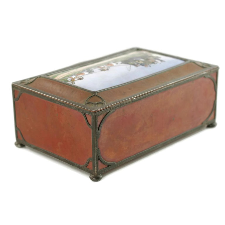 Gorham Athenic Cigar Box with Cecil Aldin Enameled Plaque and Silver Decoration For Sale 3