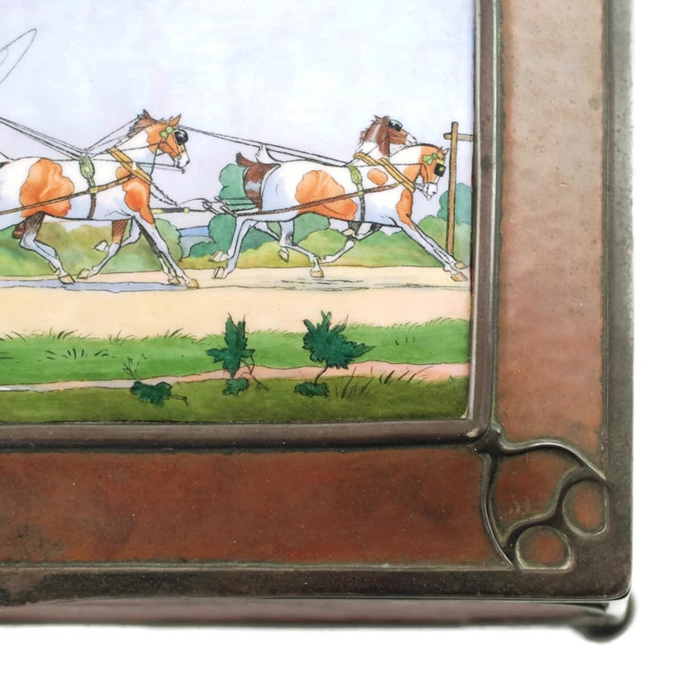 Gorham Athenic Cigar Box with Cecil Aldin Enameled Plaque and Silver Decoration For Sale 8