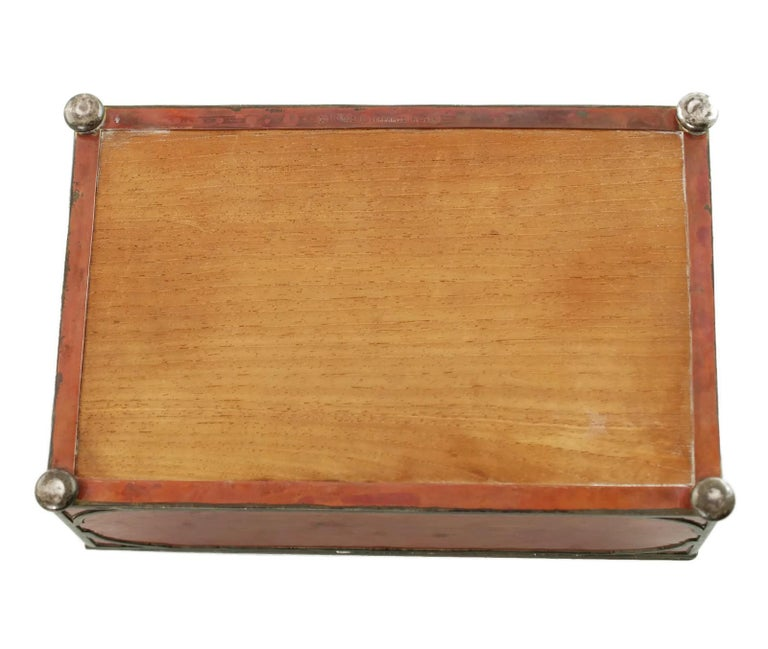Gorham Athenic Cigar Box with Cecil Aldin Enameled Plaque and Silver Decoration For Sale 9