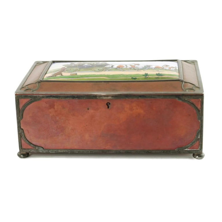 Gorham Athenic Cigar Box with Cecil Aldin Enameled Plaque and Silver Decoration In Good Condition For Sale In Cincinnati, OH