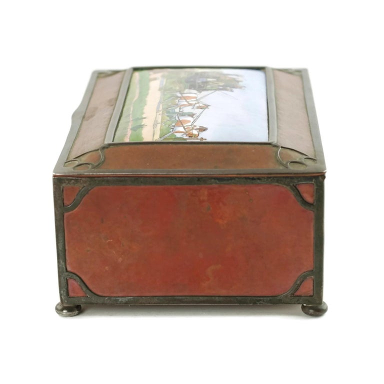 20th Century Gorham Athenic Cigar Box with Cecil Aldin Enameled Plaque and Silver Decoration For Sale