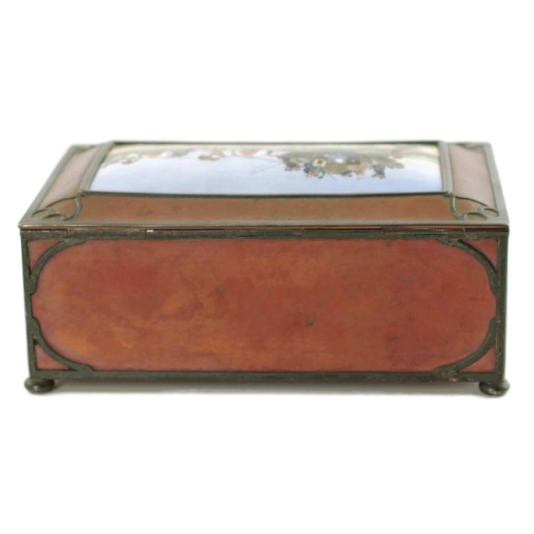 Sterling Silver Gorham Athenic Cigar Box with Cecil Aldin Enameled Plaque and Silver Decoration For Sale