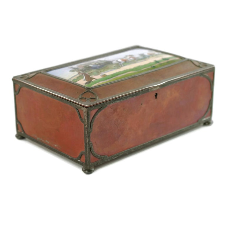 Gorham Athenic Cigar Box with Cecil Aldin Enameled Plaque and Silver Decoration For Sale 2