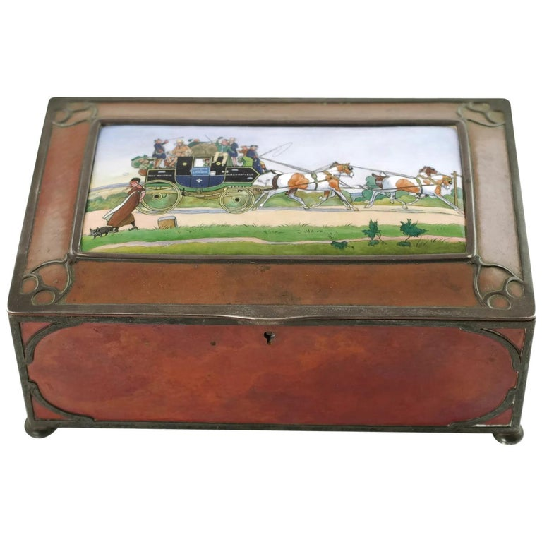 Gorham Athenic Cigar Box with Cecil Aldin Enameled Plaque and Silver Decoration For Sale