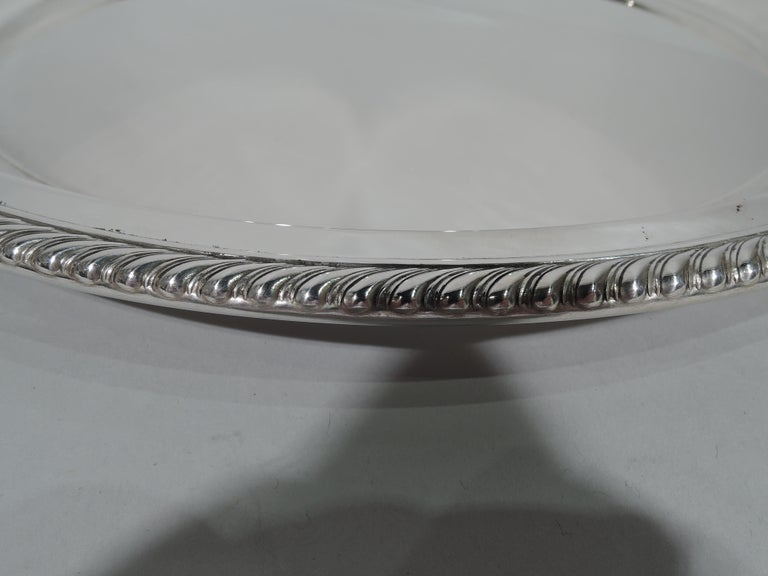 Georgian Gorham Deep and Round Sterling Silver Serving Tray For Sale