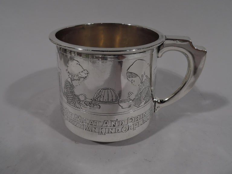 North American Gorham Edwardian Sterling Silver Baby Cup with Moral Message For Sale