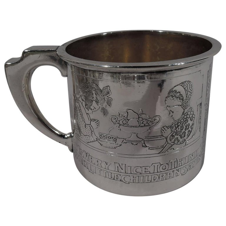 Gorham Edwardian Sterling Silver Baby Cup with Moral Message For Sale