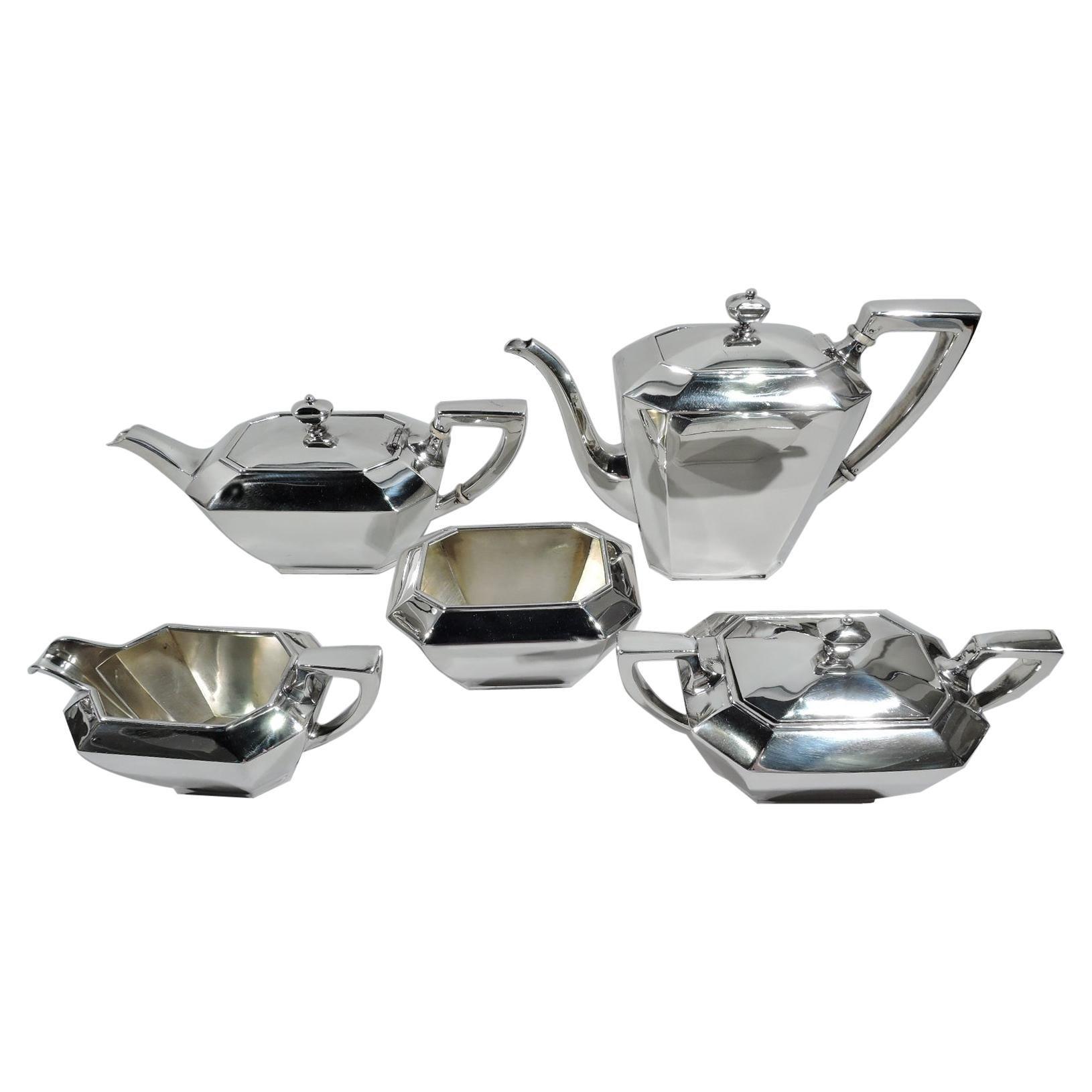 Gorham Fairfax Art Deco Sterling Silver 5-Piece Coffee and Tea Set