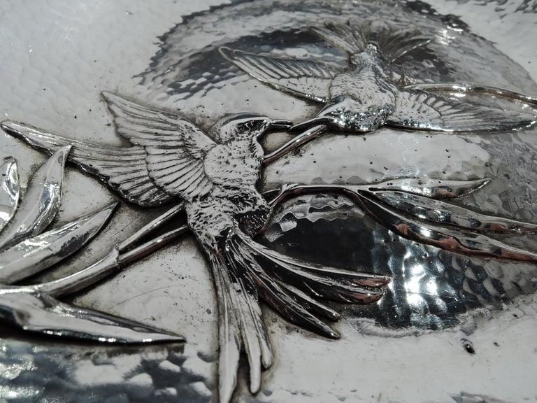 Appliqué Gorham Japonesque Applied Hand-Hammered Sterling Silver Hummingbird Bowl For Sale