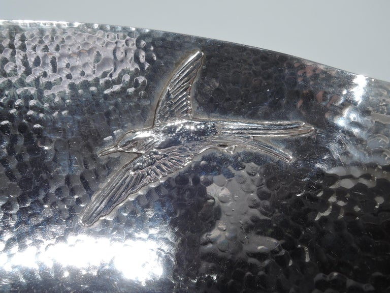 Late 19th Century Gorham Japonesque Applied Hand-Hammered Sterling Silver Hummingbird Bowl For Sale