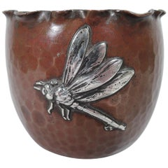 Gorham Japonesque Copper and Silver Mixed Metal Dragonfly Bowl