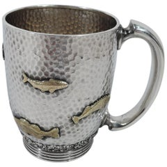 Gorham Japonesque Hand-Hammered and Mixed Metal Christening Mug