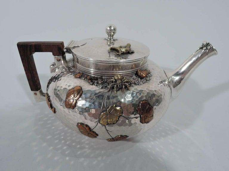 Japonisme Gorham Japonesque Hand-Hammered Sterling Silver and Mixed Metal Tea Set For Sale
