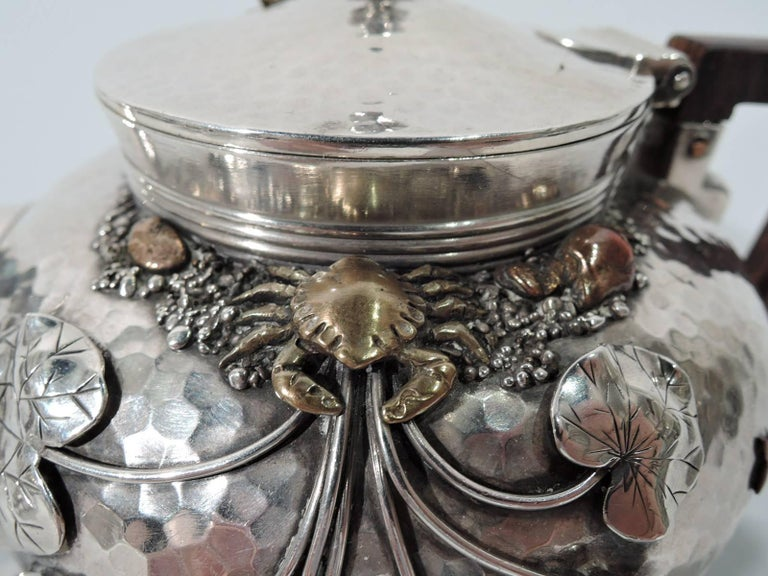 Gorham Japonesque Hand-Hammered Sterling Silver and Mixed Metal Tea Set In Excellent Condition For Sale In New York, NY