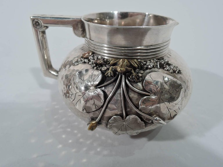 19th Century Gorham Japonesque Hand-Hammered Sterling Silver and Mixed Metal Tea Set For Sale