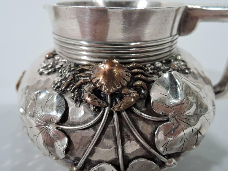 Gorham Japonesque Hand-Hammered Sterling Silver and Mixed Metal Tea Set For Sale 1